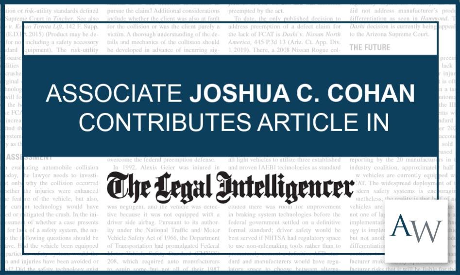 Joshua Cohan Legal Intelligencer